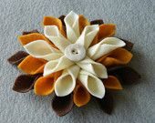 Handmade felt flower accessory - brown, rust and ivory