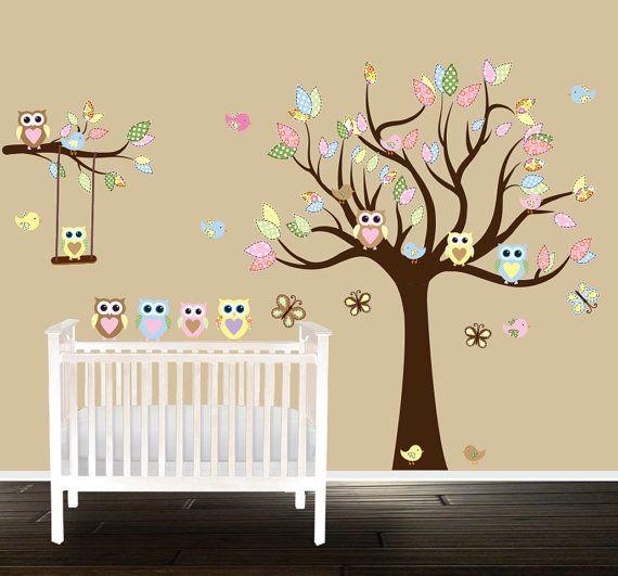 Owl Nursery Tree Wall Decal Gender Neutral Wall Decals Wall Art - Nursery wall decals gender neutral