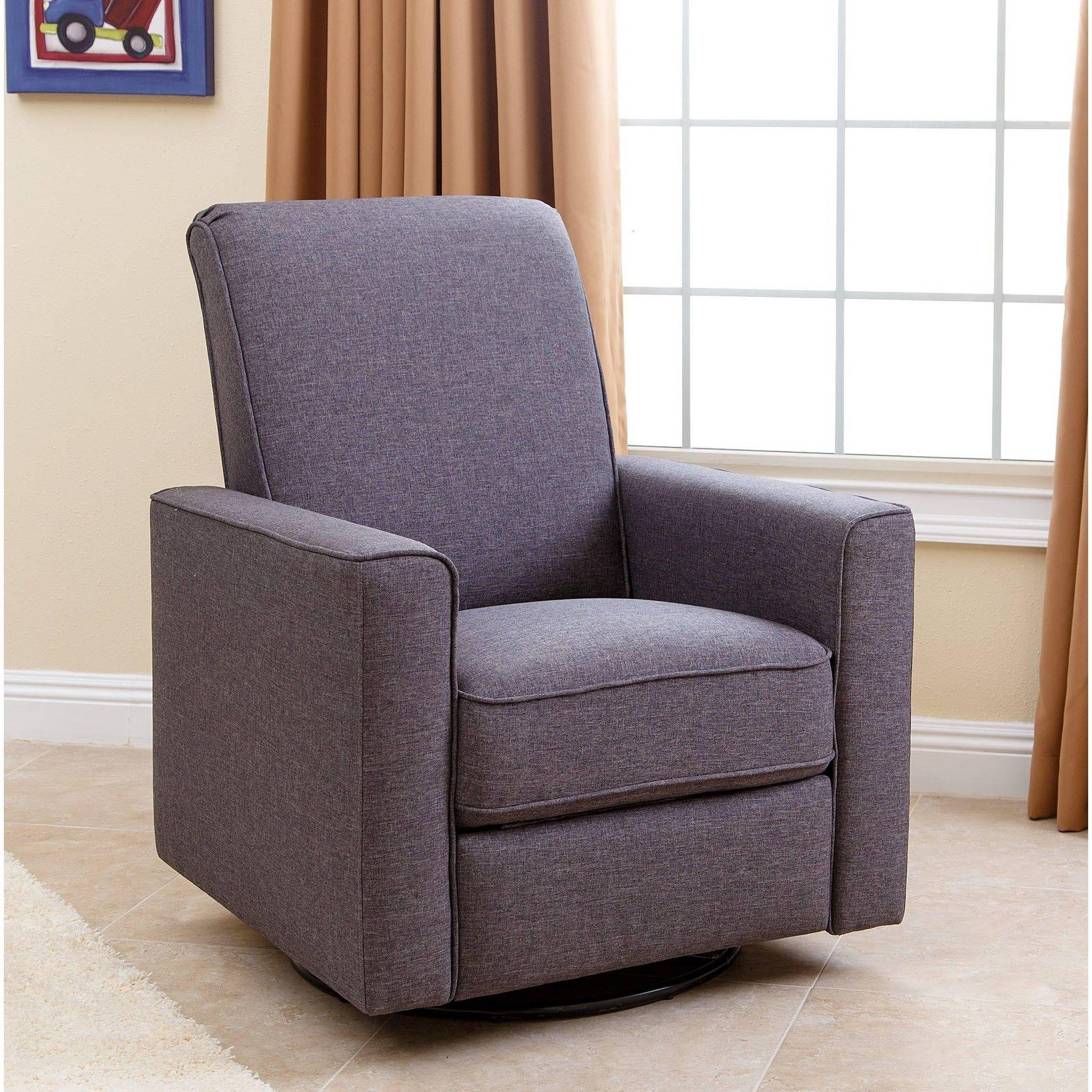 Abbyson Hampton Grey Nursery Swivel Glider Recliner Chair Fabric