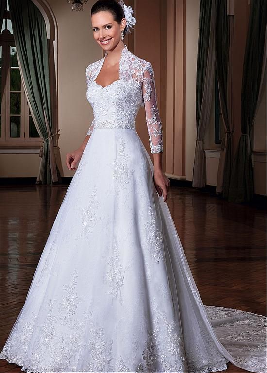 Elegant Tulle Queen Anne Neckline 2 In 1 Wedding Dresses With Detachable Jacket