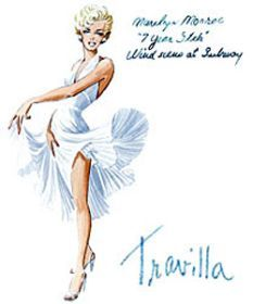 """William Travilla's sketch of Marilyn's """"Subway"""" dress for """"The Seven Year Itch""""."""