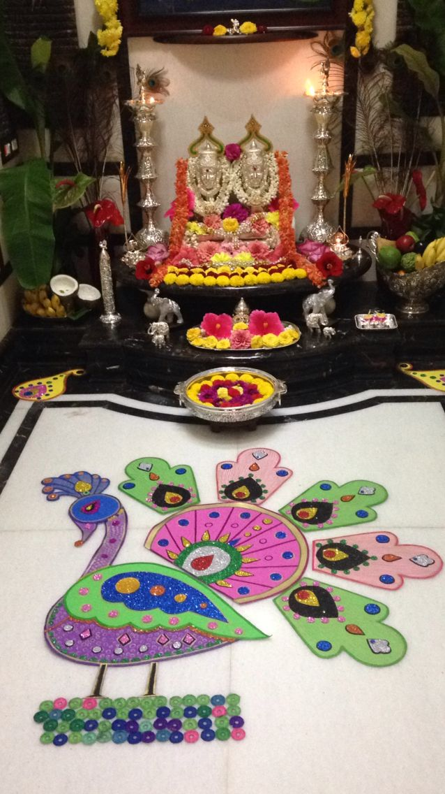 Pin by vani s on decorations pinterest puja room room for Indoor diwali decoration