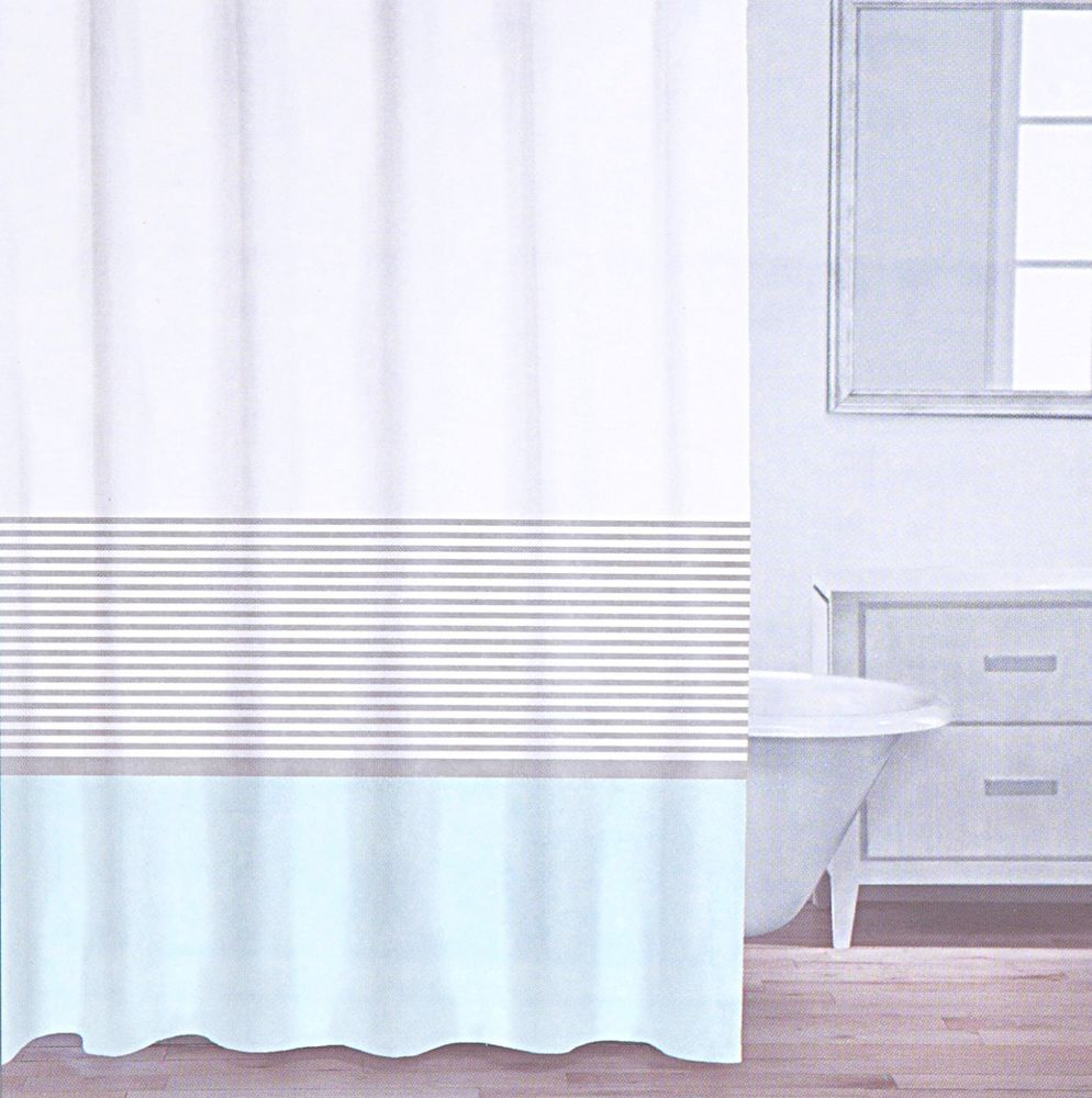 CARO Home Cotton Shower Curtain Wide Stripe Aqua Turquoise Silver ...