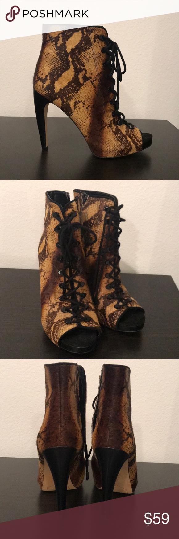 c49ab23b417362 Sam Edelman Pony Hair snake 🐍 ankle boots 8 I wear them once