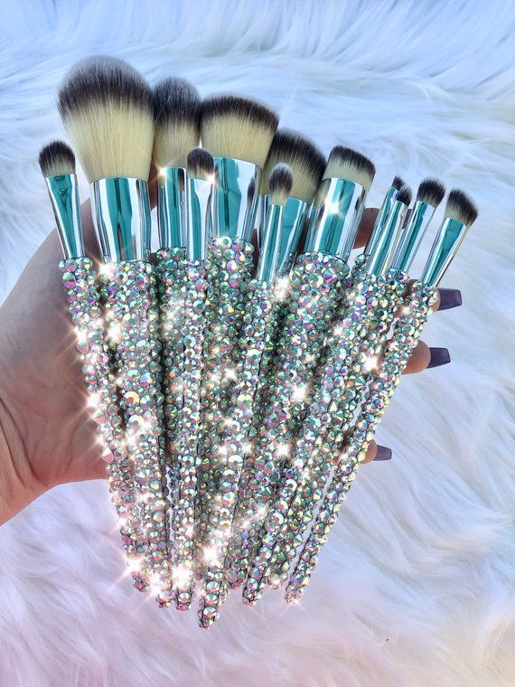 12 Piece Full Bling Makeup Brushes Bling makeup, Luxury