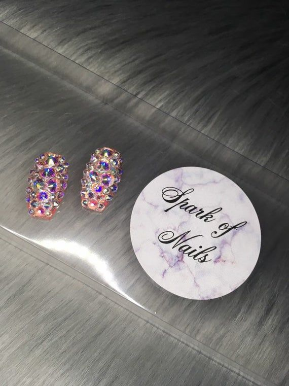 Photo of Set of two full crystal AB accent nails.-fake nails-glue on nails