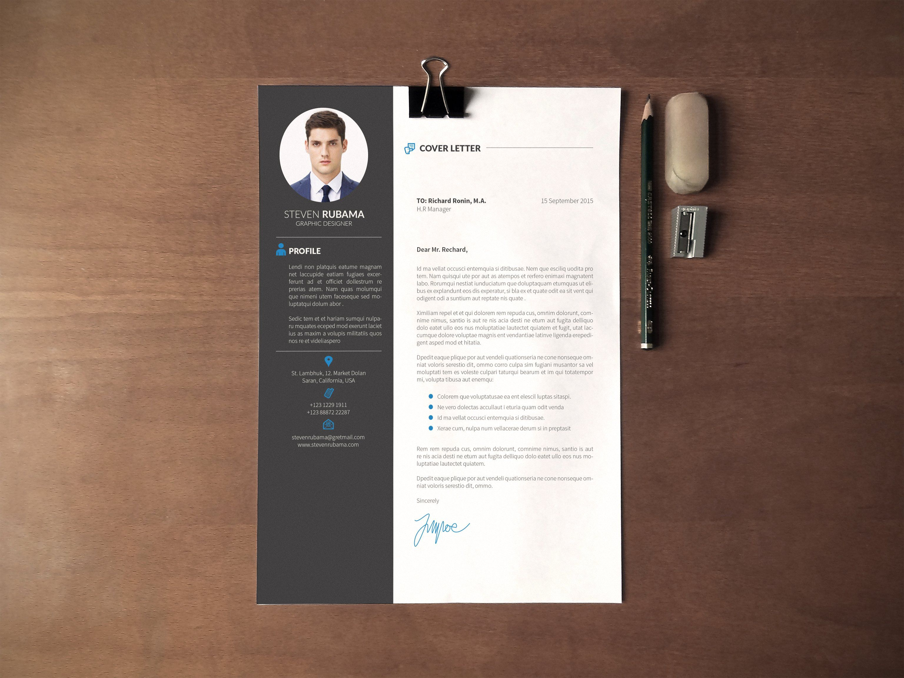 Resume/CV + Cover Letter by vanroem on @creativemarket | george ...