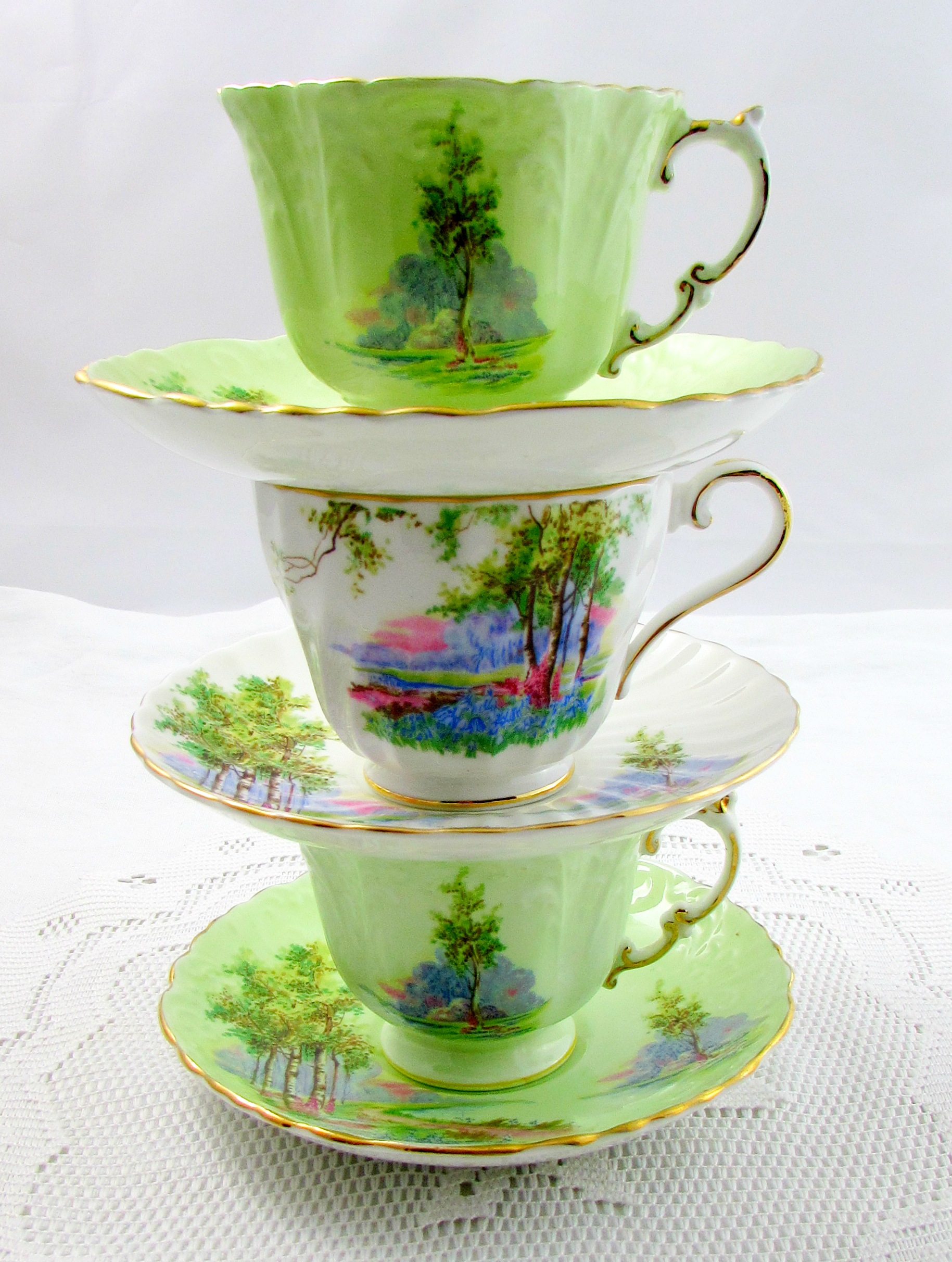 Reserved For Sc Aynsley Green Tea Cup And Saucer Bluebell Etsy Tea Cups Green Tea Cups Tea