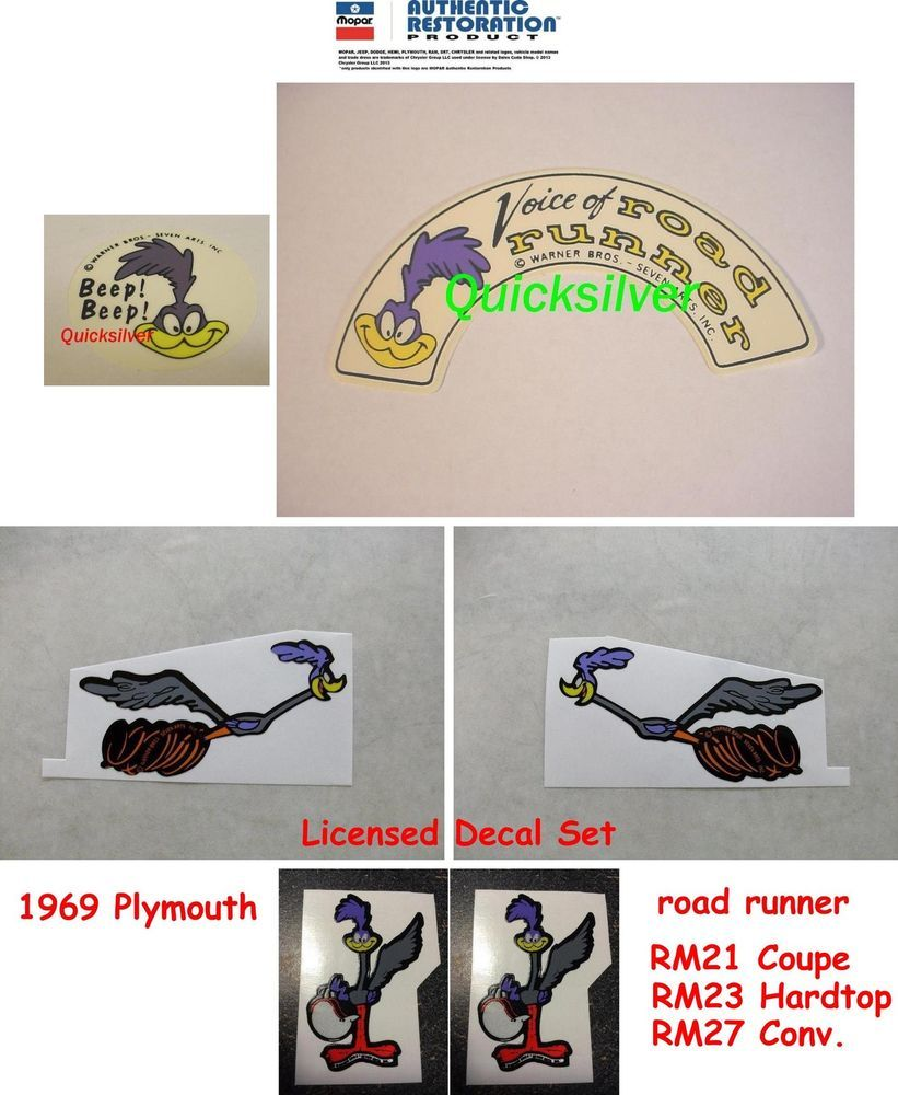 Details About 1969 Plymouth Road Runner Complete Set Road