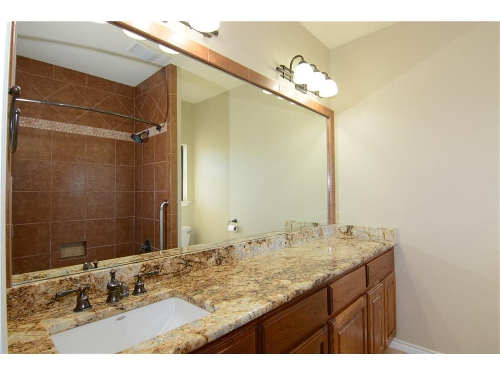 Long Master Bath Vanity With Only One Sink And Small Window Over