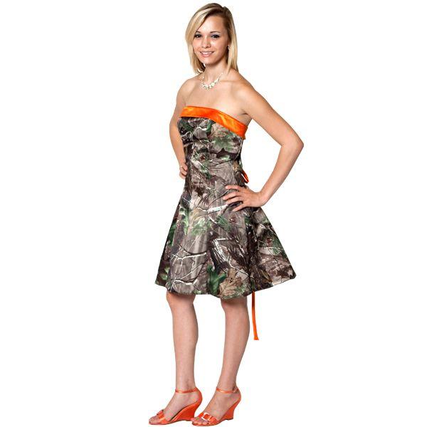 Realtree Camo and Blaze Orange Formal Dress | Shorts, Camo formal ...