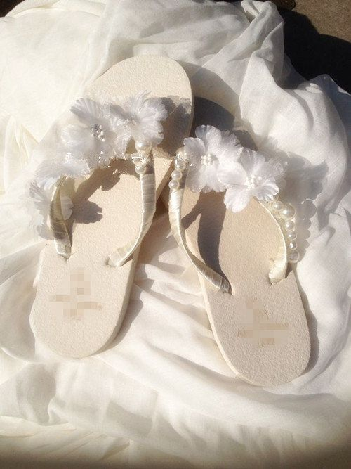 6c8e6c7849d2 White Wedge Bridal Flip Flops Sandals with flowers by Cocoangelly ...