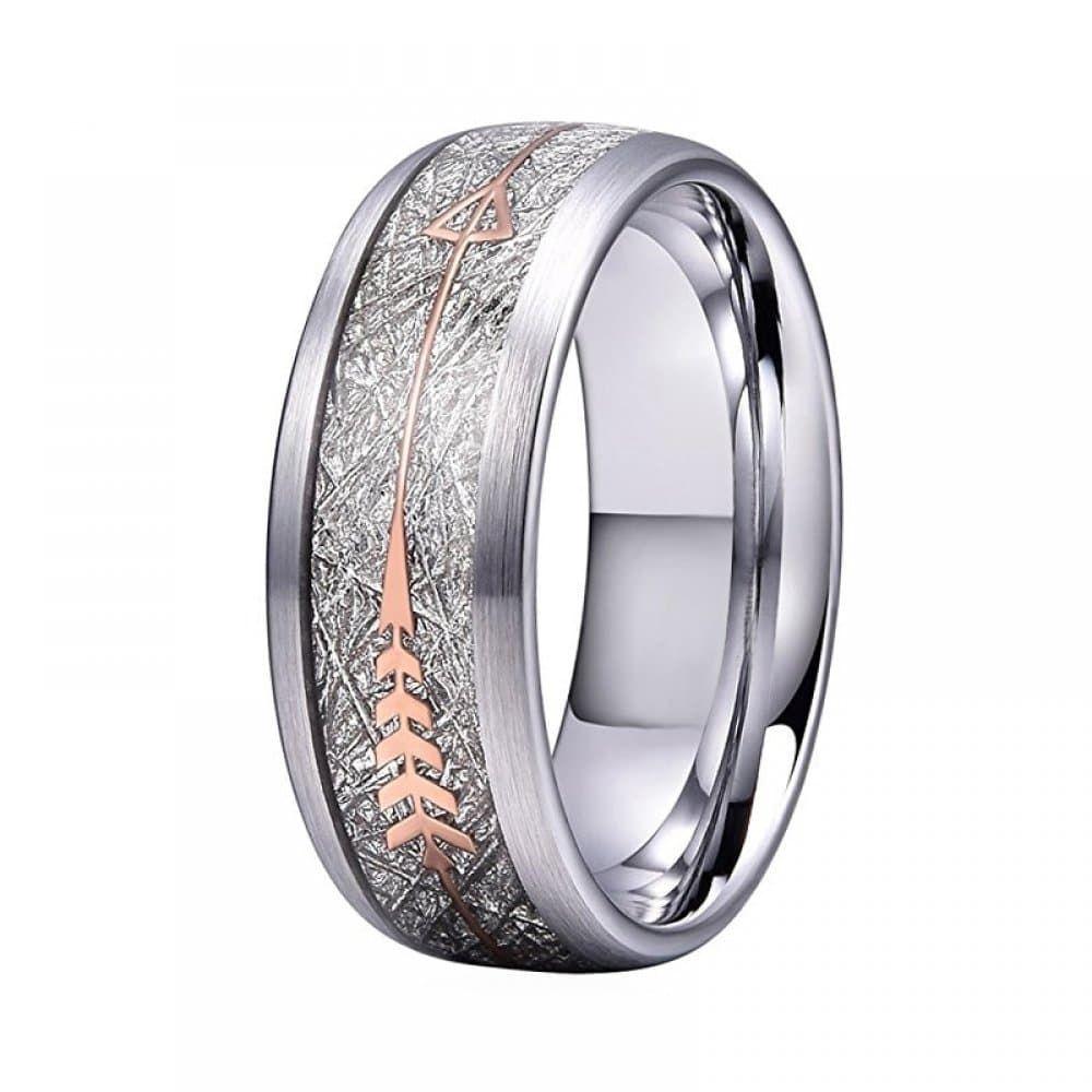 8 Mm Mariage Bande Bague pour hommes femmes en acier inoxydable avec météorite Inlay Fashion