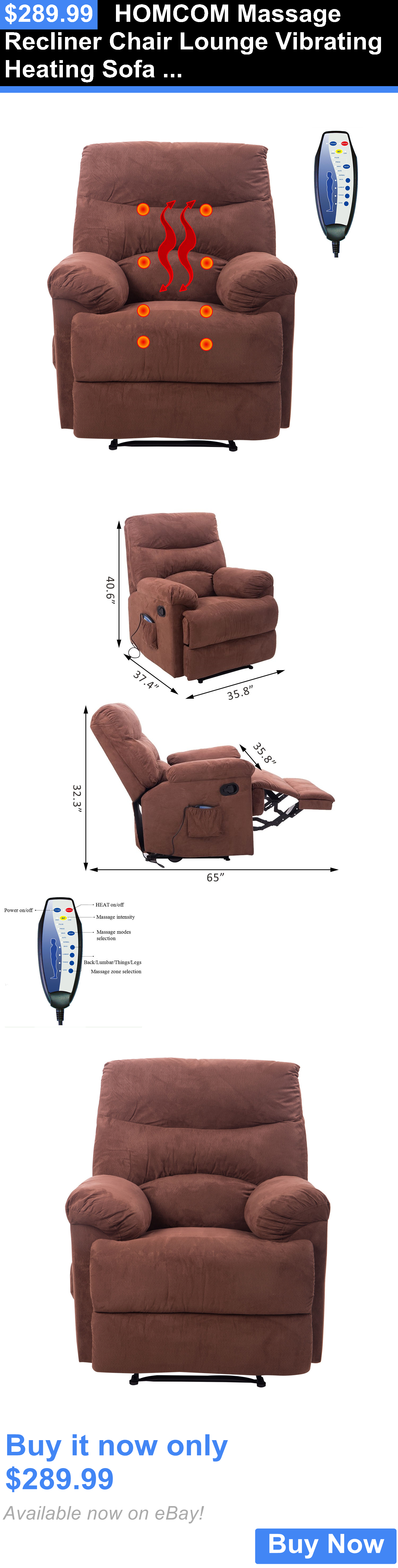 Electric Massage Chairs: Homcom Massage Recliner Chair Lounge Vibrating  Heating Sofa Suede W/ Controller