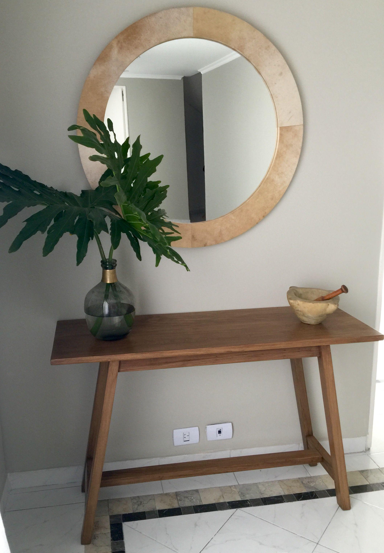 Espejo redondo con marco en pergamino el postigo muebles for Espejos bonitos para recibidor