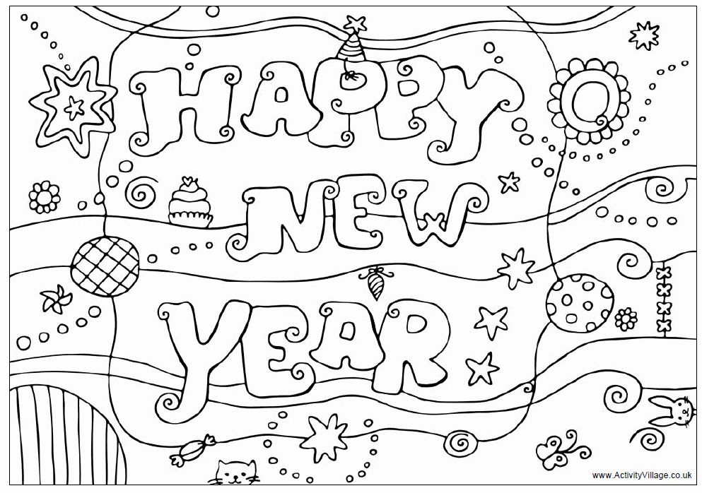 Happy New Year Coloring Page Best Of Happy New Year Colouring Design Colouring Pages For Kids In 2020 New Year Printables New Year Coloring Pages Free New Year Cards