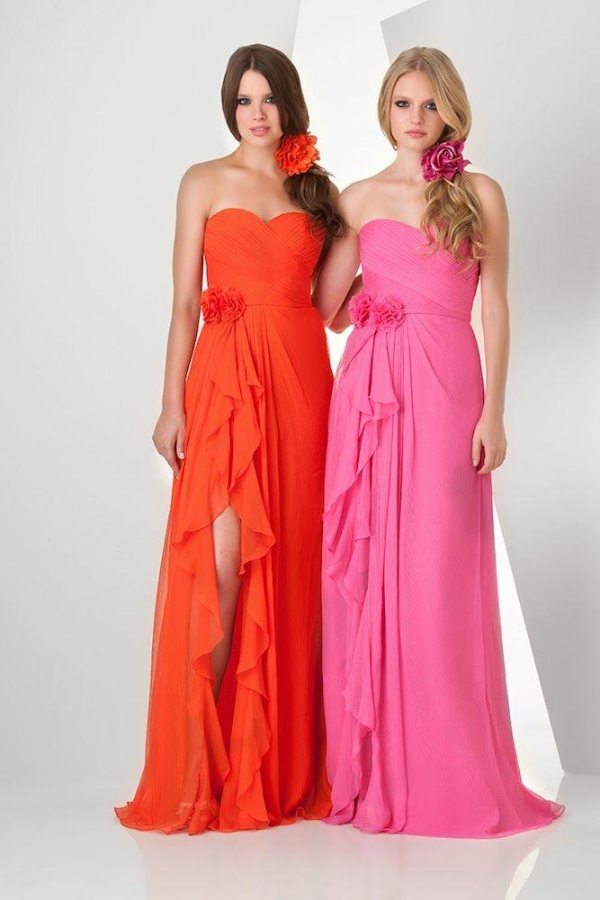 Bonito Color Mandarina Vestidos De Dama Ornamento - Ideas de ...