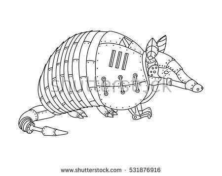 armadillo animal coloring pages. Steampunk style armadillo  Mechanical animal Coloring book for adult vector illustration