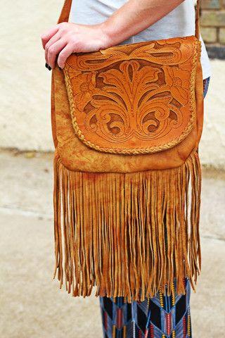 The Pecos   Wild Bleu Hand Tooled Leather Bag with Fringe
