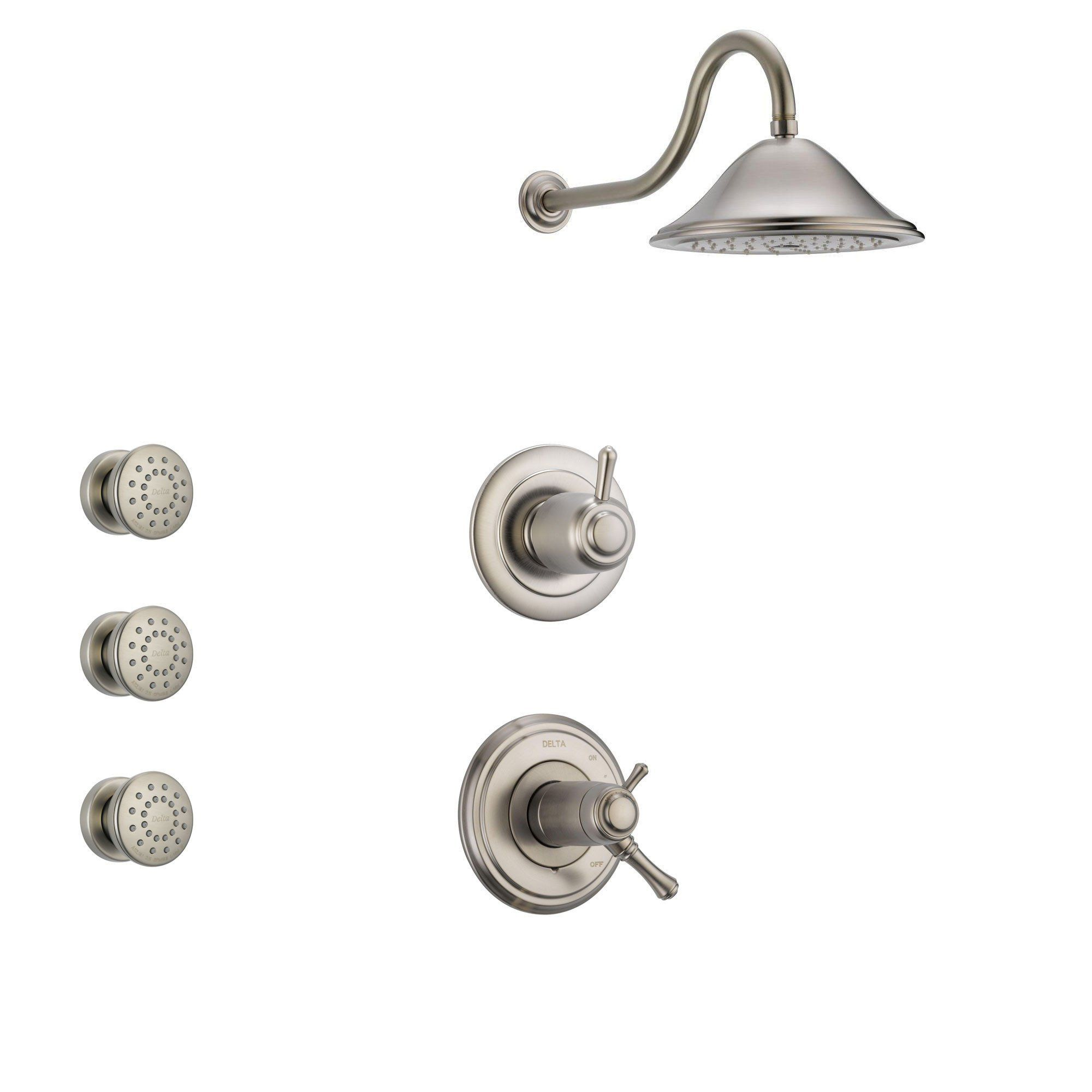 Delta Cassidy Stainless Steel Shower System With Thermostatic