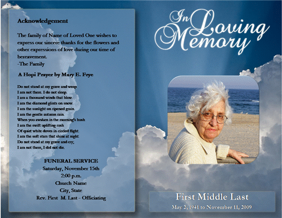Perfect Downloadable Funeral Bulletin Covers | Click Funeral Service Program  Template Now To Download The Template. Intended For Free Funeral Programs Downloads