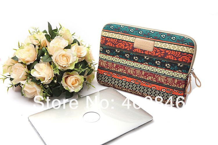 "KinMac canvas bohemia 14"" laptop sleeve Leather Laptop bag 10 13.3 14 15.6 17.3 inch case for macbook air retina pro 11 13 15 17-in Laptop Bags & Cases from Electronics on Aliexpress.com"