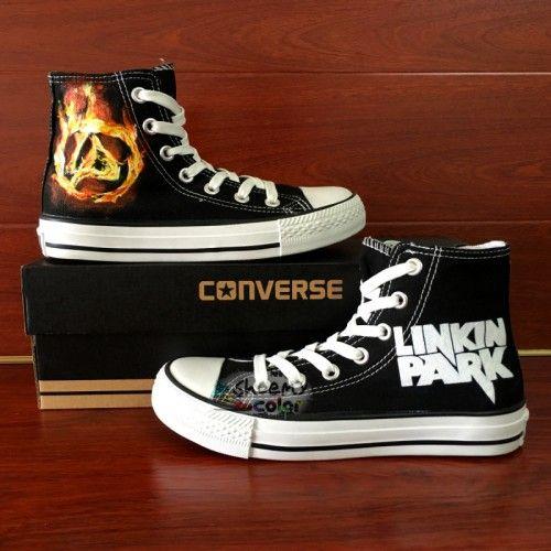 e48a780a285a Unique Gifts Men Converse Linkin Park Hand Painted Black Canvas Shoes