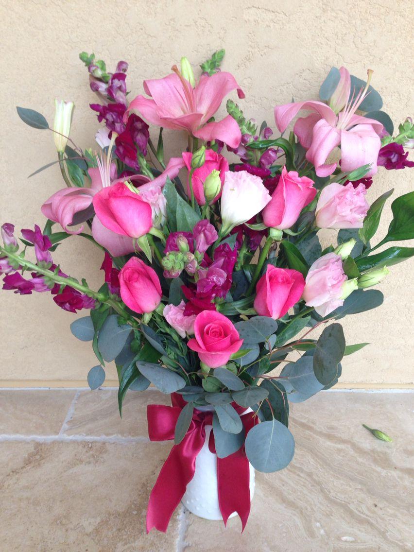 A beautiful valentine bouquet pink rosesdark pink snap dragons a beautiful valentine bouquet pink rosesdark pink snap dragons pink lisianthus izmirmasajfo