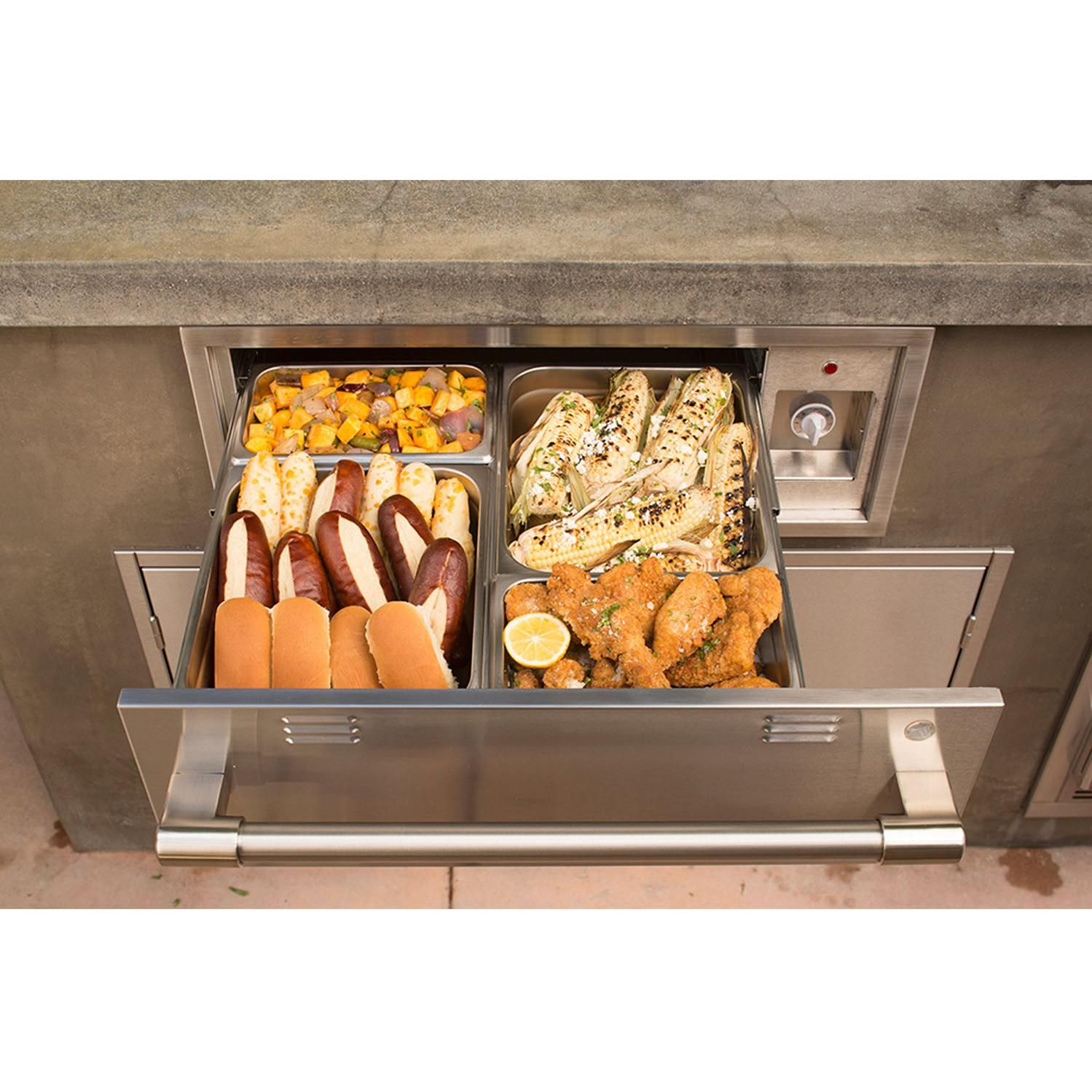 This Alfresco Axe Model Warming Drawer Features All Commercial Stainless Steel Welded Construction Sle Warming Drawer Outdoor Kitchen Cabinets Outdoor Kitchen