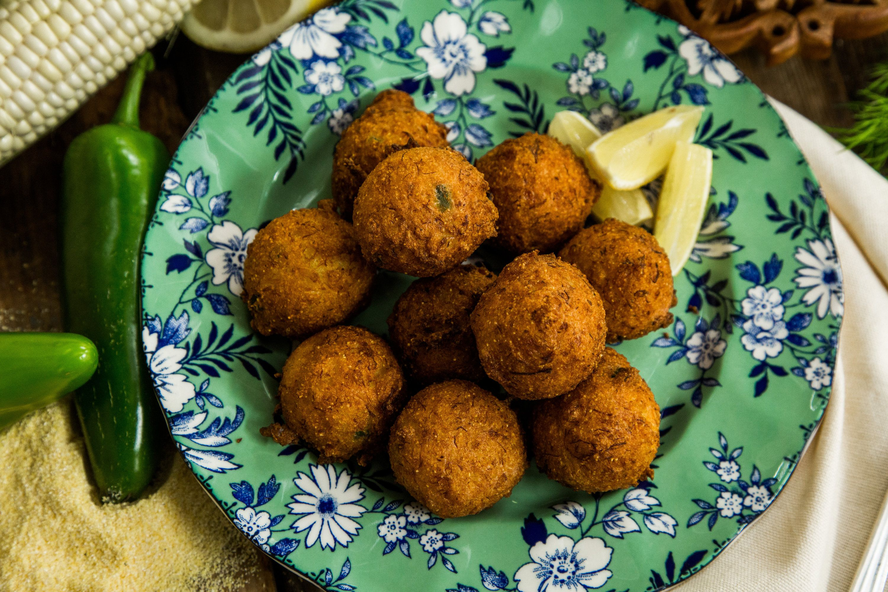 Recipes Hush Puppies With Dungeness Crab Hallmark Channel Recipe Recipes Appetizer Snacks Seafood Dishes