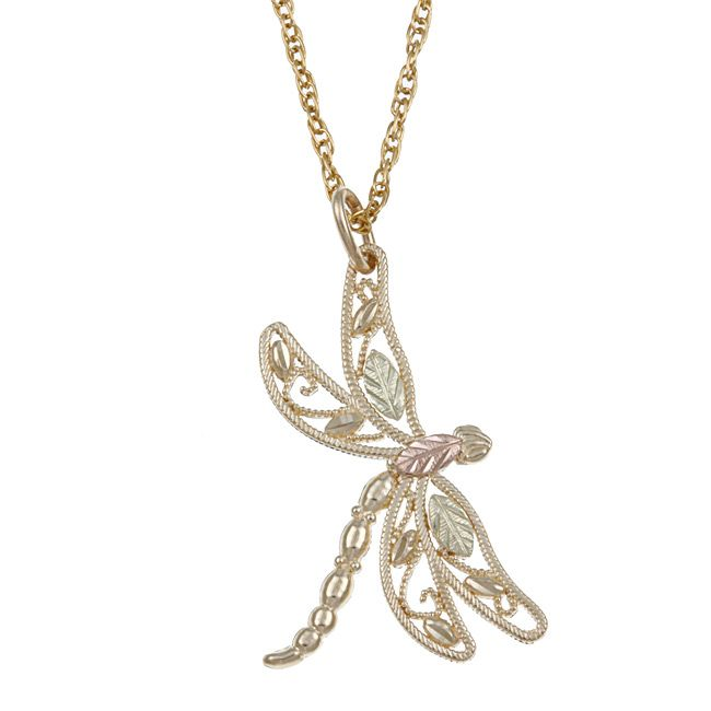This beautiful dragonfly pendant features 12 karat pink and green this beautiful dragonfly pendant features 12 karat pink and green black hills gold leaf trim aloadofball Gallery