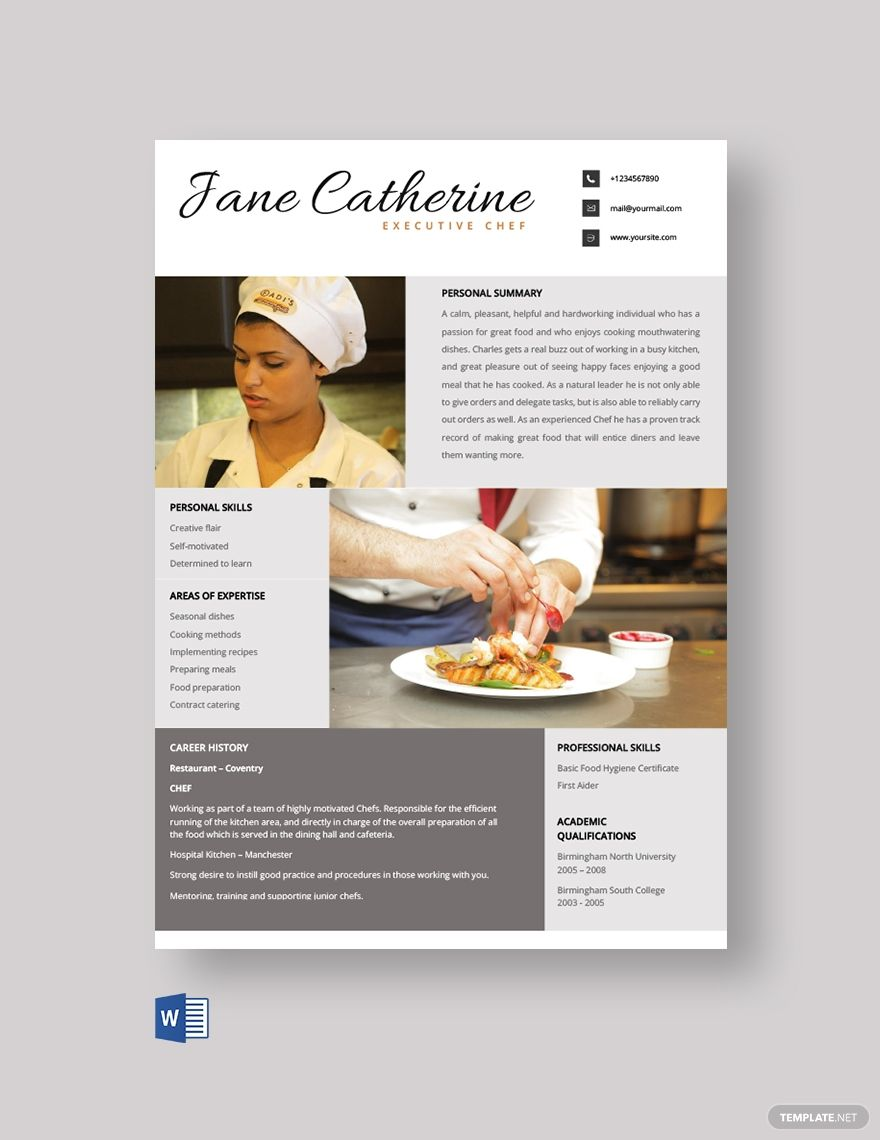 Free Executive Chef Resume Template in 2020 Chef resume