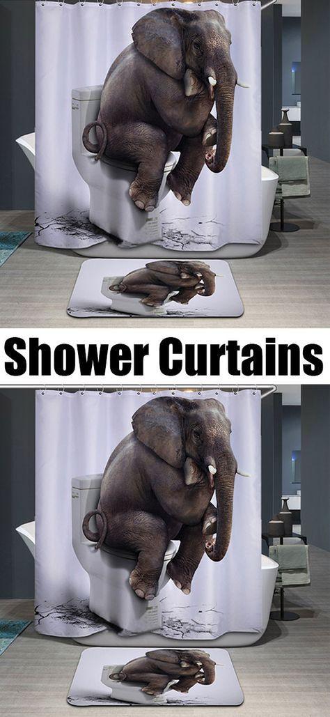 $7.89 Thicken Waterproof 3D Elephant Toilet Pattern Shower Curtain