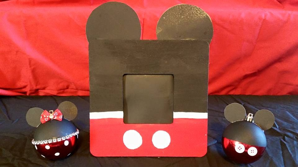 My Homemade Mickey picture Frame & Mickey/Minnie ornaments ...