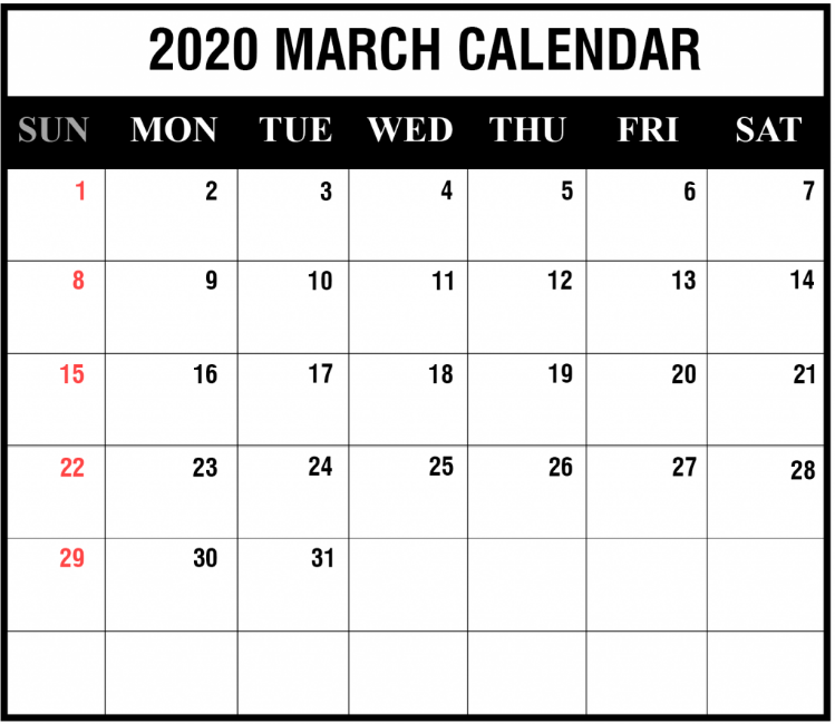 Blank Calendar March 2020 Template PDF Word Excel In 2020