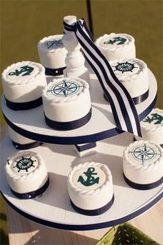 Nautical themed cup cakes
