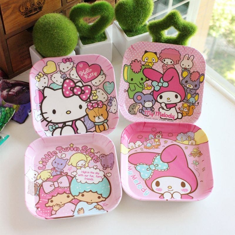 M58 1x Cute Kawaii O Kitty Square Melamine Plate Desktop Storage Holder Desk Accessories Organizer Stationery