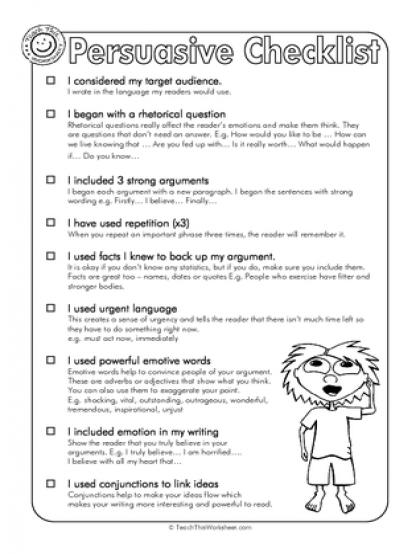 Persuasive Checklist | elementary elar | Pinterest