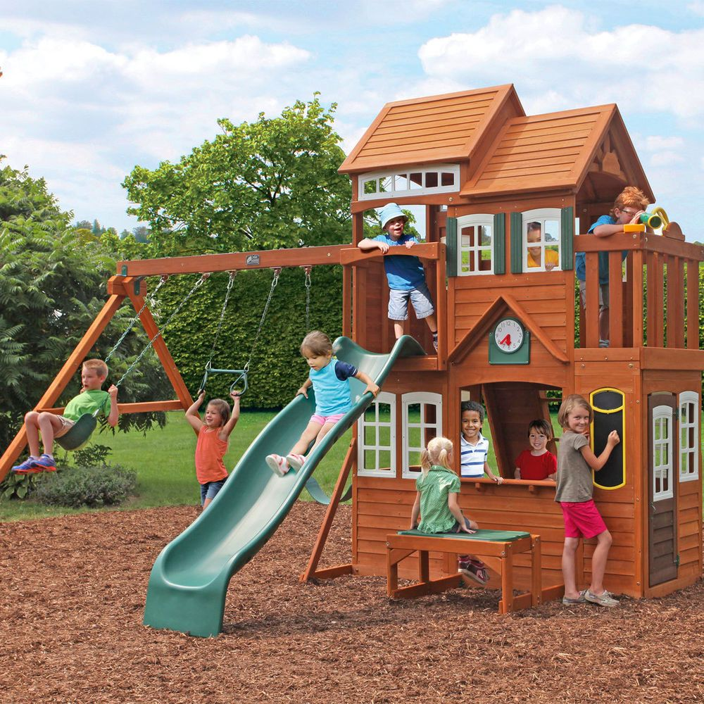 Solowave Cedar Summit Mount Forest Lodge Playcentre Tree House (3 10 Years)  In. Backyard PlaysetBig ...