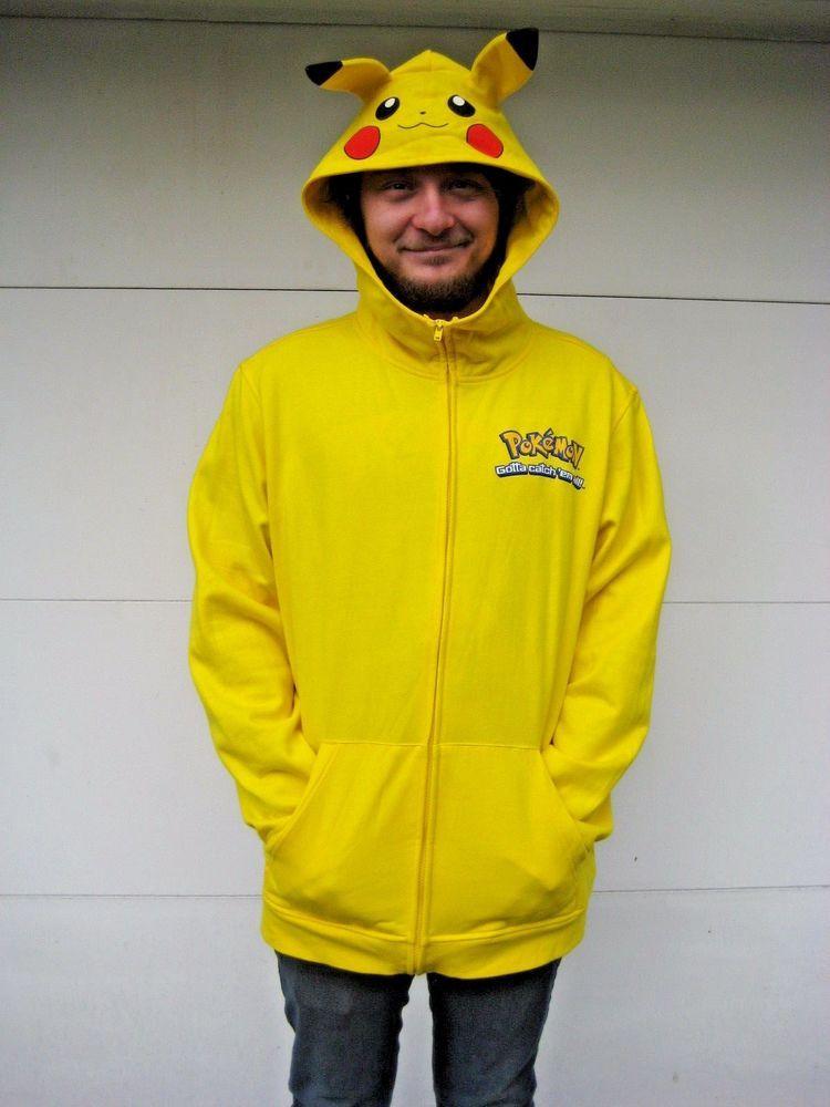 Hot topic pokemon go pikachu hoodie zip sweatshirt jacket