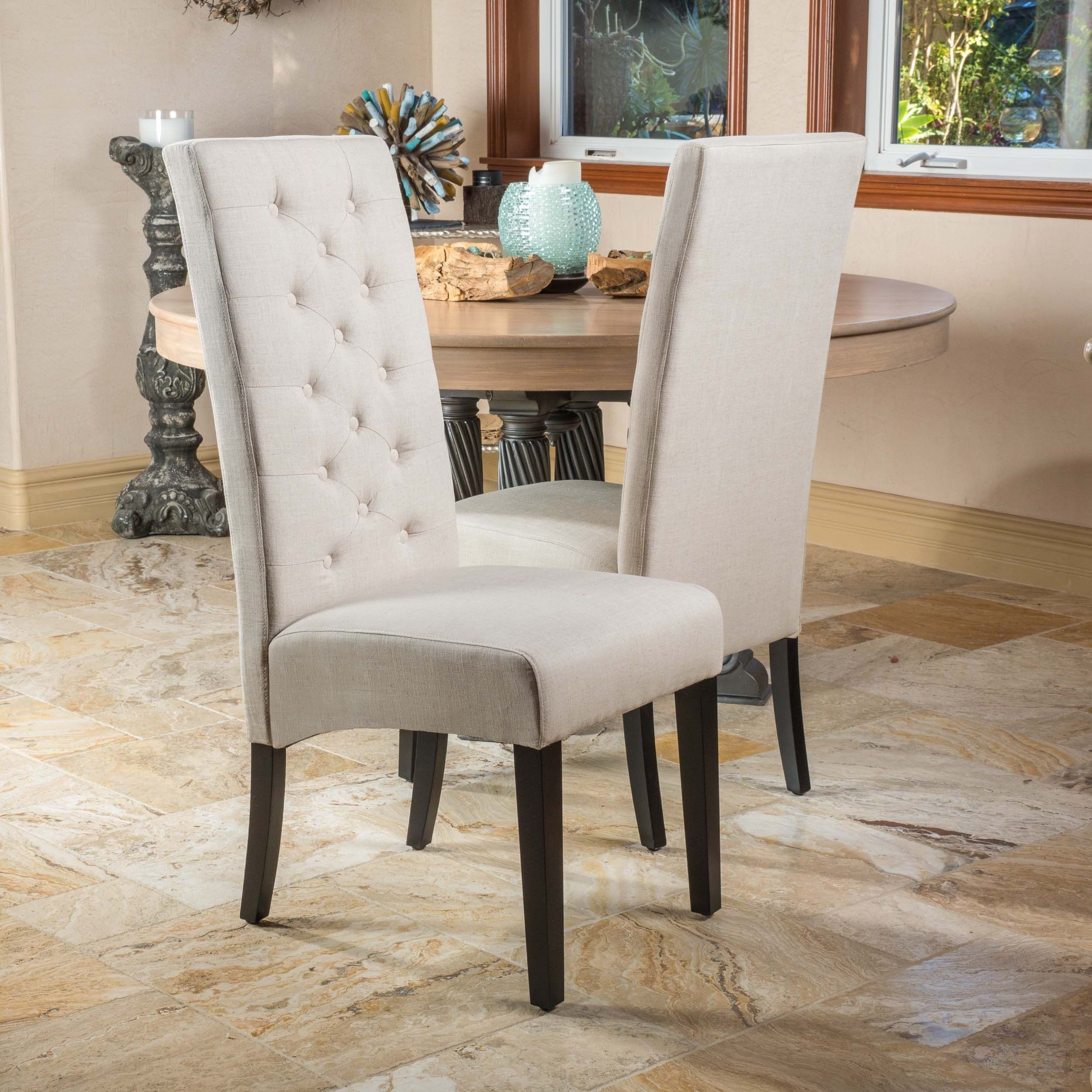 Tall Back Natural Fabric Dining Chair Set Of 2 By Christopher