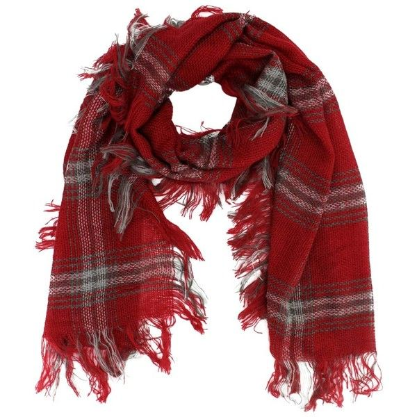 Red Soft Checker Winter Twill Scarf Wrap Shawl (21 CAD) ❤ liked on Polyvore featuring accessories, scarves, heavy, red, tartan wrap shawl, red shawl, red plaid shawl, red scarves and fringe scarves