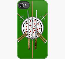 Ninja Turtle Iphone case! I wish it looked like a turtle-com though...(Ninja Pizza Emblem iPhone Case by Siegeworks .)