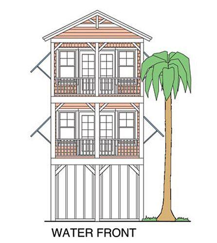 Elevated Piling And Stilt House Plans Coastal Home Plans Coastal House Plans Beach House Plans House On Stilts