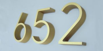 House Address Numbers in 6 Ribbon Deep Gold Anodized Weston