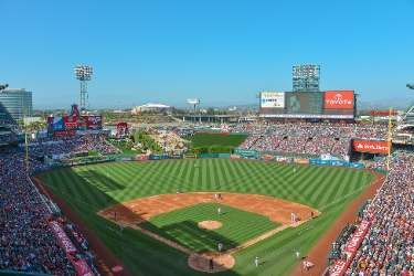 View of Angel Stadium, home of the Los Angeles Angels