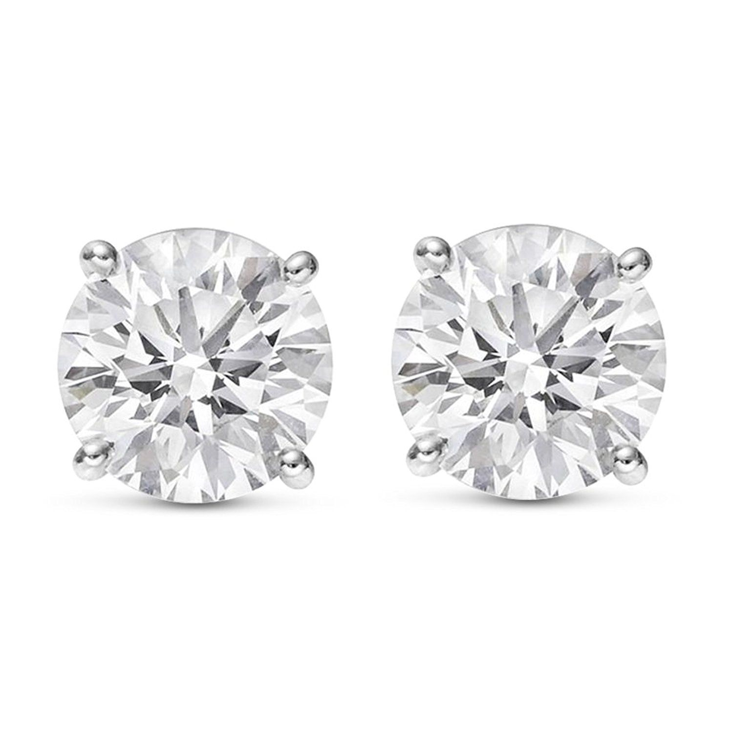 1 4 Carat Solitaire Diamond Stud Earrings Round Brilliant Shape 4 Prong Push Back Diamond Solitaire Earrings Pyramid Stud Earrings Diamond Earrings Studs Round