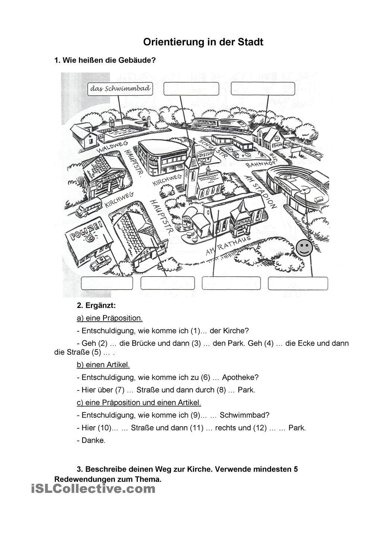 orientierung in der stadt deutsch grammatica scuola tedesco. Black Bedroom Furniture Sets. Home Design Ideas