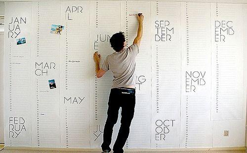 Year long wall calendar