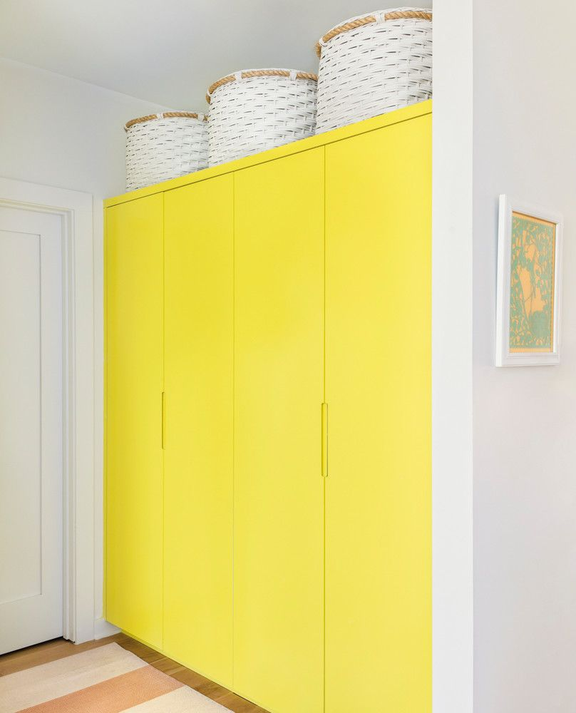 Patterns Rule in this Colorful Austin Bungalow   Hall closet, Yellow ...
